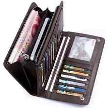 Men's Leather ID Card Holder Zip Wallet Purse Clutch Checkbook Billfold one hs