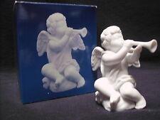 Avon Nativity Collectibles THE CHERUB White Porcelain Bisque Figurine Angel Horn