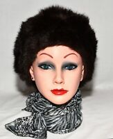 Vintage Brown Faux Mink Fur Womens Dress Hat One Size