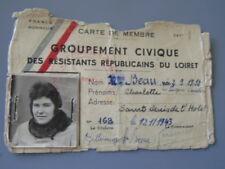 RESISTANCE MAQUIS MAQUISARD FFI : CARTE DE MEMBRE / LOIRET / LIBERATION
