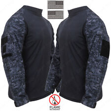 "Men's Midnight Digital Camo Combat Shirt - Includes 2 2""x3"" US Flag Patches"