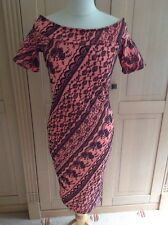 GREAT LOVE LABEL CORAL/BLACK FLORAL PATTERNED FITTED DRESS UK SIZE 10 BNWT