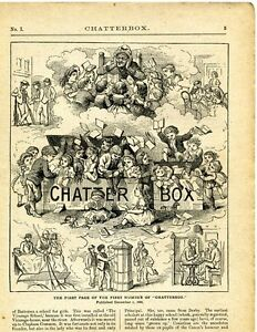 Vintage Book Page Plate Print, First Page Chatterbox, Children Illustration 1917