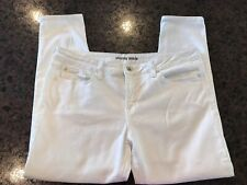 NEW JCP White Jeans 12 Solid Cotton Stretch Slacks Wide Ankle Boot Leg Pants $44