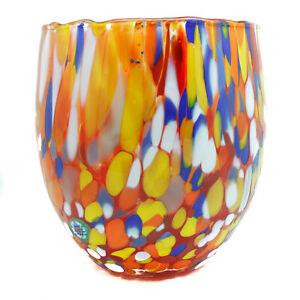 Murano Glass Drinking Glass Tumbler Red Blue Yellow White Hand Made Millefiori
