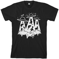 Para Hombre Botín Cajón Exclusivo Grande Negro X-Files Alien secuestro Ufo T-Shirt L