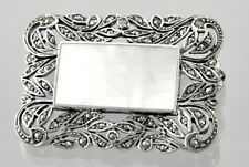 Art Deco Style All Sterling Silver 925 MOTHER OF PEARL Marcasite  Brooch