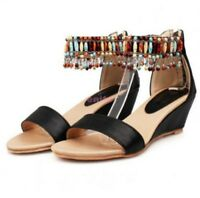 3d3a5a4d1be5 Womens Fringe Ladies Mid Wedge Heel Boho Beach Sandals Beads Casual Shoes  Size 8
