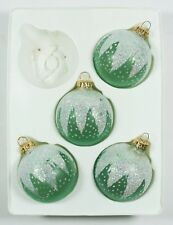 Vintage Green White Glass Ball Hand Blown Christmas Ornament Holiday Decoration