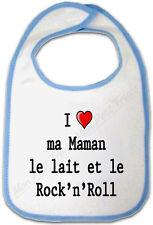 Bavoir Bleu Bébé I love ma Maman le lait et le Rock'n'Roll