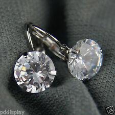 18k White Gold GF White Diamond Simulant Drop Earrings