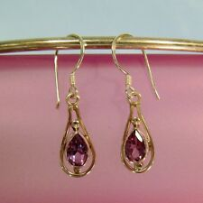 "1/2"" Teardrop Amethyst Gemstone 925 Sterling Silver Handmade Dangle Earrings"