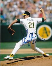 MIKE MOORE OAKLAND A'S 1989 WSC ACTION SIGNED 8x10