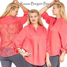 New Lace Back Mandarin Collar Coral Top Plus Size 20/3XL (9716)JL