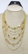 Multi Layered Gold Tone Necklace with Colorful Rhinestones by Illuminata #ILL1