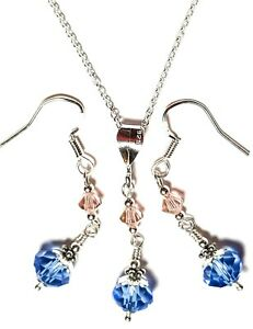 """18"""" Blue Pink 925 Sterling Silver Necklace Earring Set Wedding Special Occasion"""