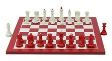 """Zagreb Series 3.75"""" Staunton White/Red Lacquered Chessmen with Board"""