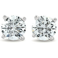 1 1/2ct 14K White Round Cut Studs Earrings Screw Back