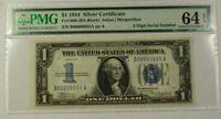 $1 1934 Silver Certificate FR#1606 S/N B00000055A PMG Choice Unc 64 EPQ