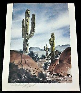 Carefree Cactus Watercolor Print Richard Hazelton 1998 Pencil Signed Southwest