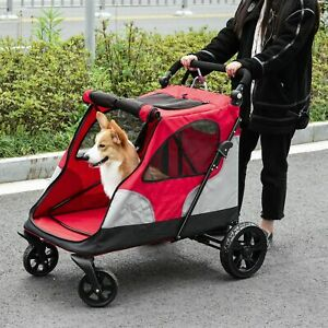 Pet Stroller Dog Foldable Travel Carriage with Adjustable Handle Red