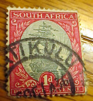 South Africa 1934 1d Grey & Carmine Cancelled Used Postage Stamp