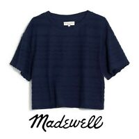 NEW Madewell Solid Textured Dolman Sleeve Navy Blue T-Shirt Size XS Extra-Small