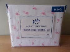 Southern Tide Pink Flamingo Printed Cotton Percale 4 Pc King Sheet Set Nip