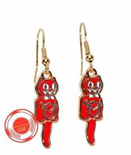 Original Kit Cat Earrings Red With Gold complete with pivot tails that swing