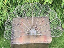 """Victorian Art Nouveau Copper Fan Fire Screen Lions Head Wire Mesh 23"""" Wide"""