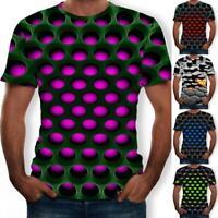 Men/Women Bass Geometry 3D Print Casual T-Shirt Short Tops Sleeve A9F8