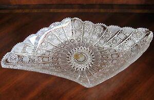 "Bohemian Czech Vintage Crystal 18"" Diamond Bowl Hand Cut Queen Lace 24% Lead"