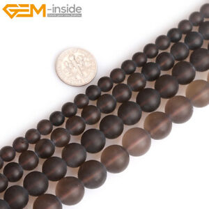 """Natural Brown Gray Smoky Quartz Crystal Forested Matt Round Loose Beads 15"""""""
