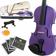 MENDINI FULL SIZE 4/4 STUDENT VIOLIN METALLIC PURPLE+TUNER+SHOULDERREST+BOW+CASE