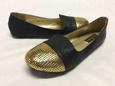 Cape Robbin SONYA Women's Flat Shoes, Black/Gold, Size 8.5... FLAT 3