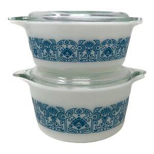 Set of 2 PYREX 472 473 Horizon Blue 1 1/2 Pint Round Casserole Dish w/ Lid 470-C