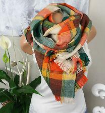 XXL Foulard Scialle Tartan a Quadri arancione verde nude Plaid Stola caldo blogger