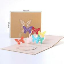 3D Rainbow Butterflies  Up Paper Cards Invitation Greeting Cards Birthday BL