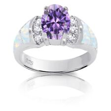 Oval Amethyst Simulated Diamond White Australian Fire Opal Sterling Silver Ring
