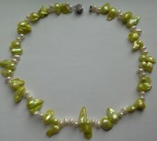 White/Light Green Freshwater Baroque Pearl Necklace, 16.5 in long.