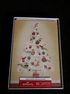 Hallmark Merry Christmas Cards Box of 16 Glitter Christmas Tree NEW Boxed