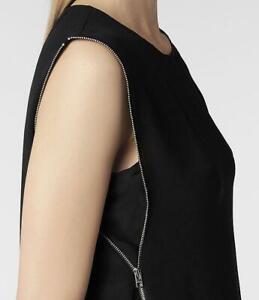All Saints Silk Aster Zip Top Size 10  BNWT in Black £138