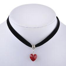 Vintage Black Velvet Choker Crystal Heart Pendant Gothic Handmade Necklace PUNK