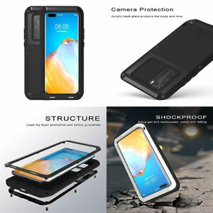 Huawei P40 Pro Case Military Protection Aluminum Metal Cover Gorilla Glass Black
