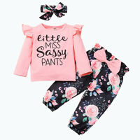 Newborn Baby Girl Clothes Infant Outfit 3 PCS Ruffle Tops +Floral Pants+Headband