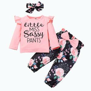 3Pcs Newborn Outfits Baby Girls Romper T-shirt Floral Pants Headband Clothes Set