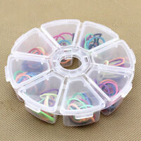 Round 8 Grid Clear Plastic Box Jewelry Bead Storage Container Craft Organizer ES