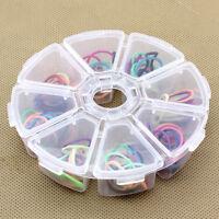 Round 8 Grid Clear Plastic Box Jewelry Bead Storage Container Craft Organizer CH