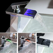 NEW Kitchen Bathroom RGB LED Color Change Sink Basin Waterfall Mixer Tap Faucet