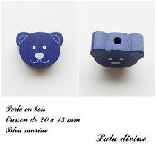 Perle en bois de 20 x 15 mm, Perle plate Tête d'ourson : Bleu marine